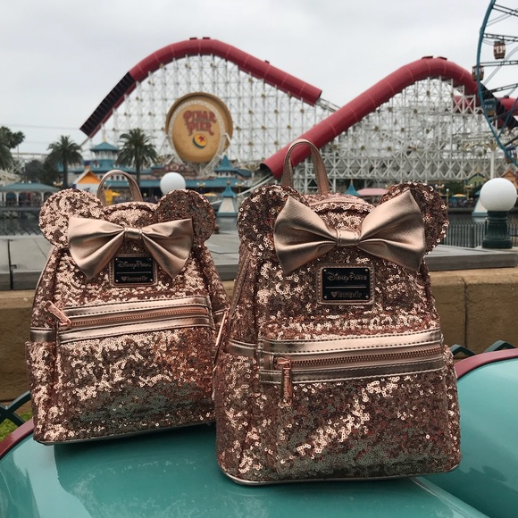 "5183dc3176 Disney Handbags - DISNEYLAND (2018) ""ROSE GOLD"" LOUNGEFLY BACKPACK"